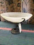 Heavy. Glass top metal stand fruit bowl. Approximately 11