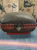 """Vintage knitted basket with metal accents. Approximately 10"""" x 15"""""""