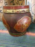 Hand painted Wood storage box. Approximately 13