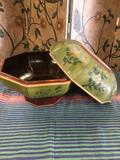 Hand painted wood storage box. Approximately 10