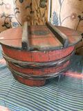 Vintage wood barrel like storage unit. Approximately 12
