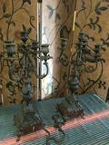 Set. Heavy Made in France metal candelabras. Each has broken or missing piece see pics.