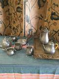 9 pieces. Pewter items includes metal tray 3