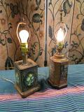 Vintage, tin, no shades lamps, work. Approx. 16
