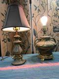 Vintage metal, table lamps one no shade. With shade approx. 20