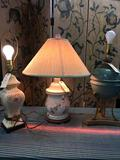 Vintage Ceramic table lamps, metal/ wood bottoms, 2 no shades, work. Approx. 2) 23