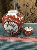 Hand painted in Hong Kong vase with lid. Approximately 13
