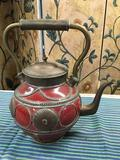 Made in Morocco ceramic and metal decorative tea kettle. Approximately 13