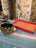 3 pieces. Vintage decorative items. Tray made in India 2