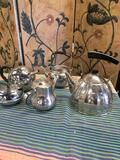 5 pieces. Assorted Stainless steel, Chrome on copper, etc tea pots
