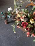 4 pieces. Assorted artificial flower decoration, large plant has tin base says made in India