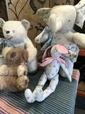 4 pieces. Vintage stuffed animals. Bear, koala, elephant, rabbit
