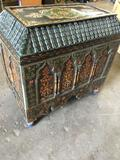 Vintage Moroccan hand painted wood chest. 25
