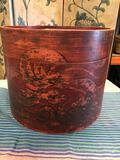 Wood storage deco with lid. Approximately 12