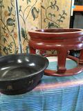 Large wood deco/ pit with removable dish with hand painted design. Approximately 14