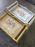 Vintage bed, wood trays approximately 10