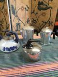 Assorted Tea kettles. 1) Reverware 2) Mirro 1) Blue unknown