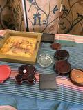 11 pieces. Assorted candle holders, stand, etc and vintage 13