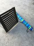 Beach umbrella and foldable wood back seat