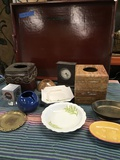 """Lot of assorted items & wood tray 24"""" x 19"""""""