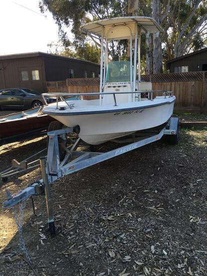 1999 Bayliner Center Console Sport Fishing Boat. 17½' RUNS SEE VIDEO 90hp Outboard & Pacific trailer