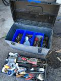 Miscellaneous Copper plumbing fittings and tool box