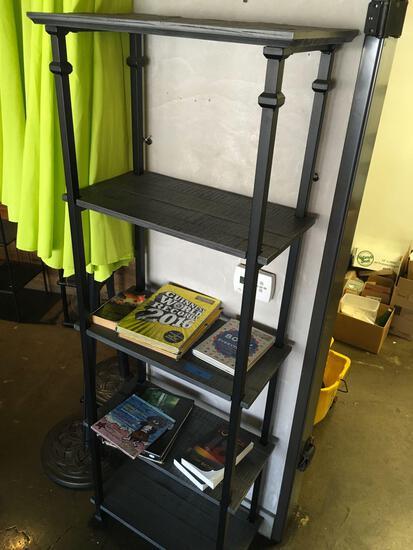 "4 tier Book Shelf with books. Metal frame wood shelves  74"" x 25"" x 12"","