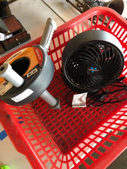Cobra 15' pistol grip drum auger, Vornado fan, ext. Cord & Basket