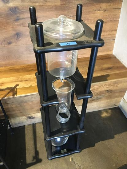"Decorative stand. Wood frame, glass containers  45"" x 12"""