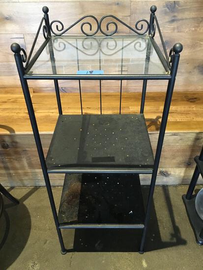 """Metal frame 3 tier shelf unit  (top tier glass) 40"""" t x 16"""" w x 15"""" d"""