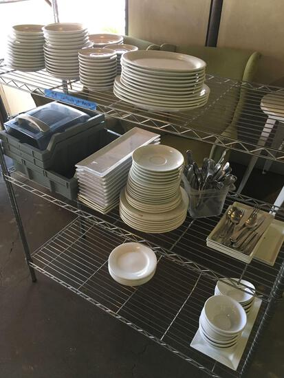Lot. Assorted dishes, cutlery, etc. contents only