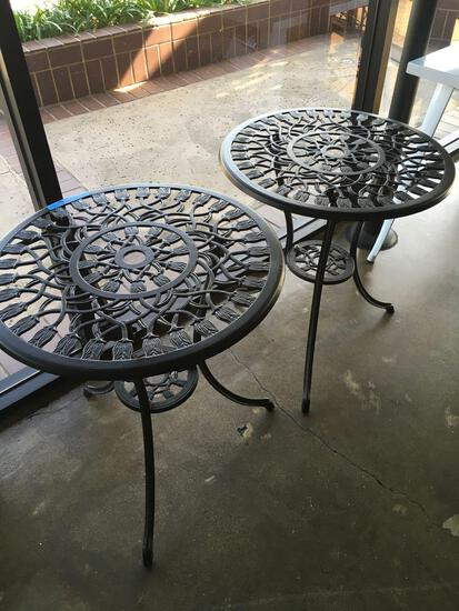 "Round metal Bistro tables  26"" x 23"""