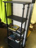 4 tier Book Shelf with books. Metal frame wood shelves  74