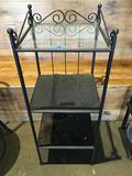 Metal frame 3 tier shelf unit  (top tier glass) 40