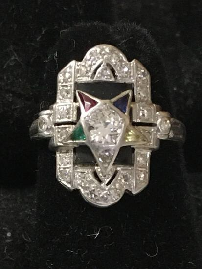 Platinum Ring - Diamond & Emeralds size 5 (Order of Eastern Star)