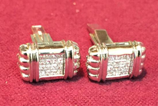 Men's Diamond Cufflinks set stamped with 18KT see picture