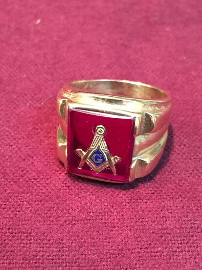 ( Masonic Fraternity Ring ) 10k Gold size 8½ men's