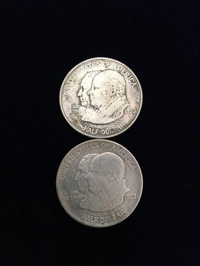 1923 James Monroe Commemorative Centennial Silver Half dollars