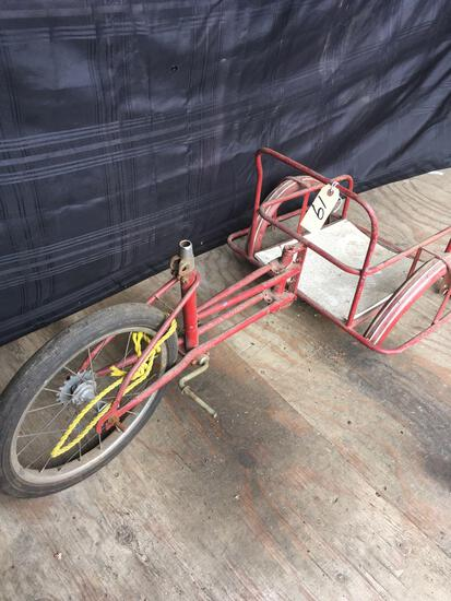 Vintage Metal Tricycle with Chariot Cart missing parts