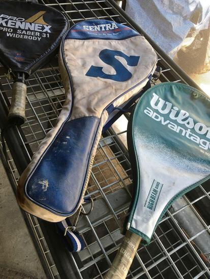 3 pieces. Racquets with covers
