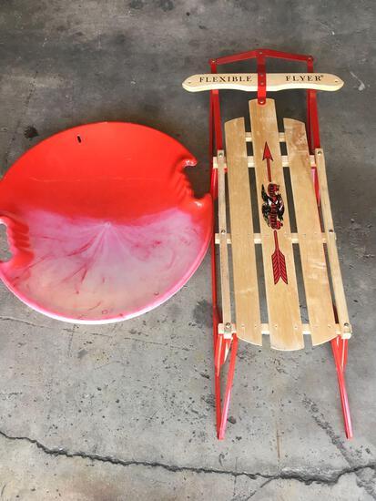 Flexible Flyer snow sled & snow saucer