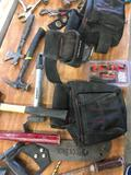 Husky tool belt and grouping of assorted tools