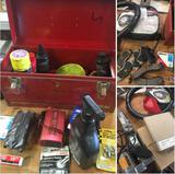 Grouping of assorted car parts & Waterloo metal tool box