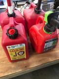 2) 2 gallon 2) 1 gallon gasoline containers