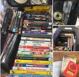 Grouping of assorted DVDS; VHS, books