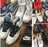 Grouping of assorted shoes. 12 pair. 2 woman 10 men's. Assorted sizes