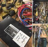 Grouping of assorted Misc. Tools, Jumper Cables, Sockets & Harness