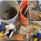 Grouping of assorted Concrete Finishing tools, Buckets, & Misc. items