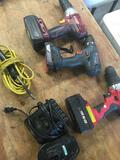 Grouping of assorted Cordless Drills, Solder Gun, 6 pieces. Untested