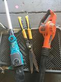 Gardening tools. Black and Decker blower, Ferrex pole saw Untested & Brush Shears.